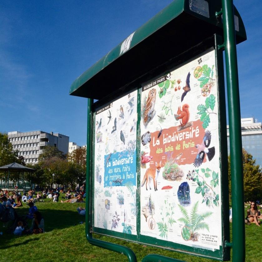 Paris France park sign animals plants nature