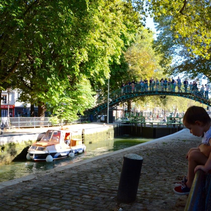 Paris France canal stmartin weir boat