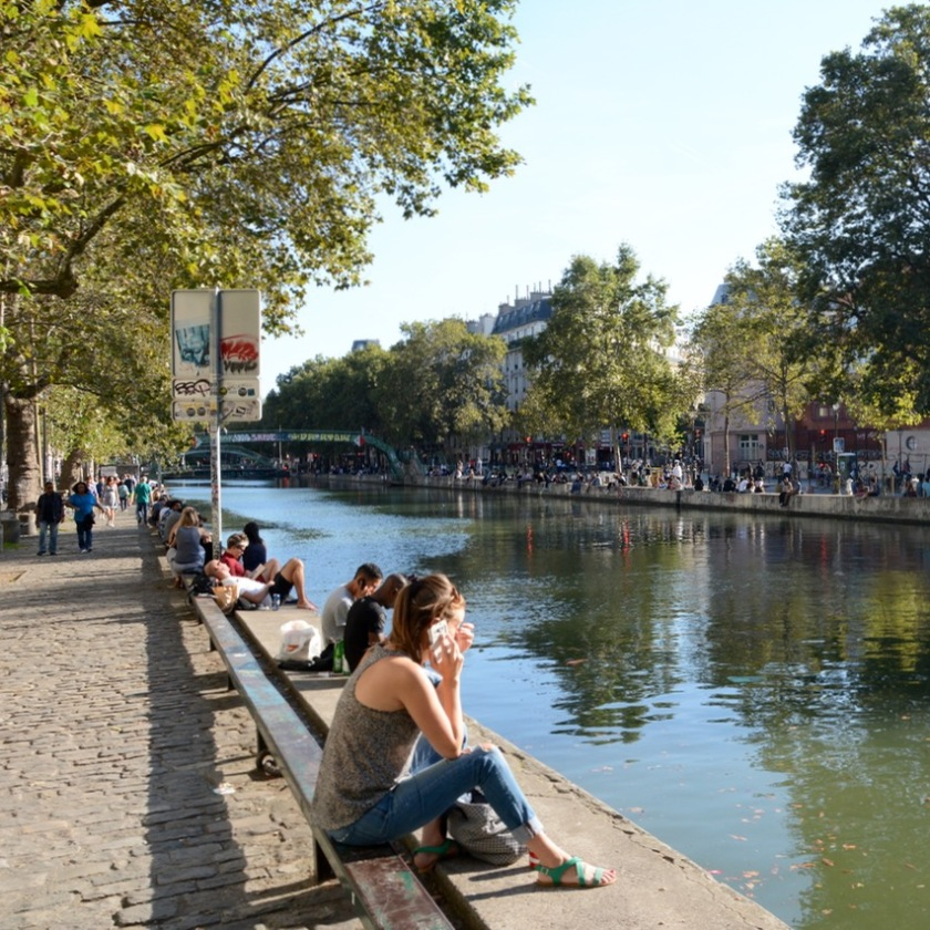 Paris France canal stmartin saturday afternoon
