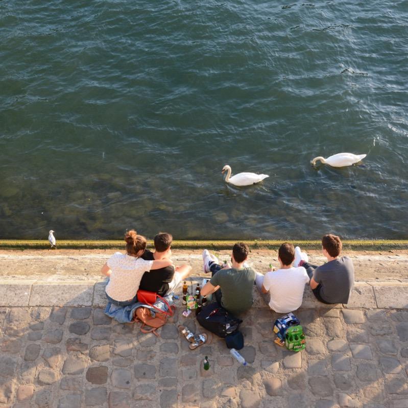 Paris France seine riverside picnic