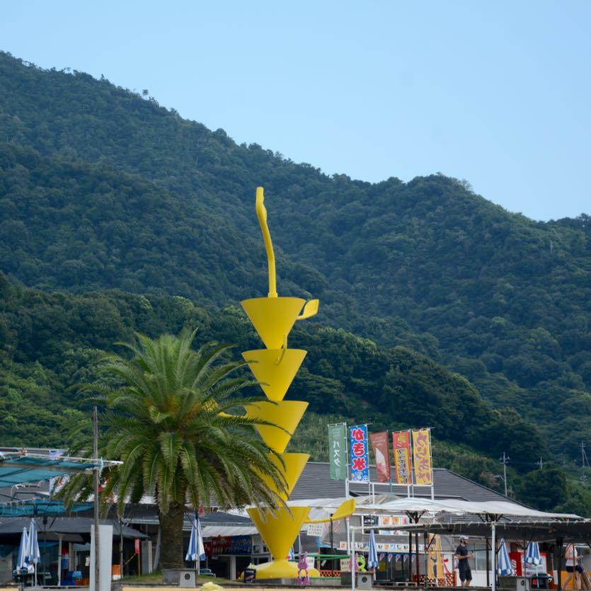 Ikuchijima setoda sunset beach art sculpture