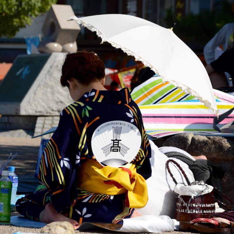 miyajima hanabi firework yukata fan parasol