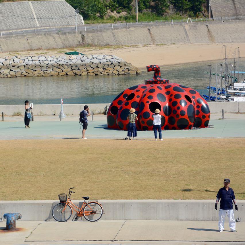 naoshima japan ferry port yayoi kusama pumpkin