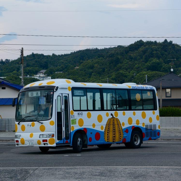 naoshima japan miyanoura port yayoi kusama bus