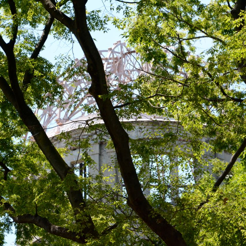 Hiroshima A bomb dome through the trees
