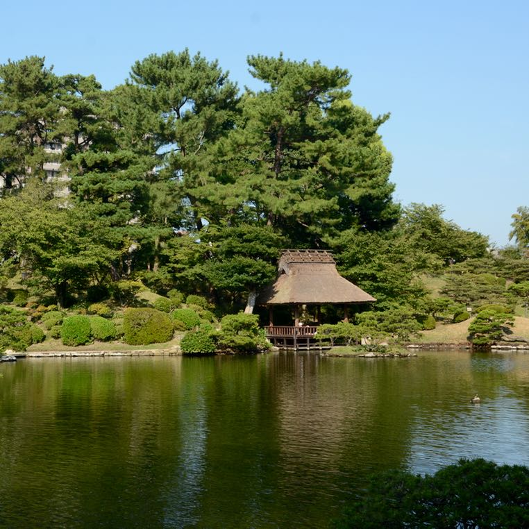Hiroshima Shukkeien japanese garden lake tea house