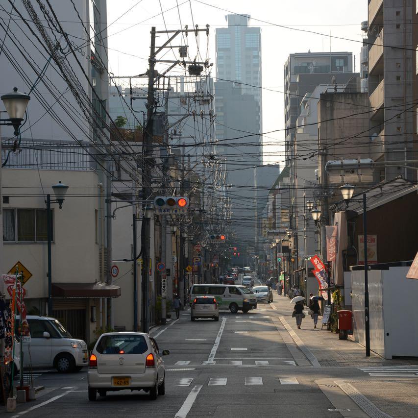 Hiroshima Shukkeien japanese garden lake street traffic lights