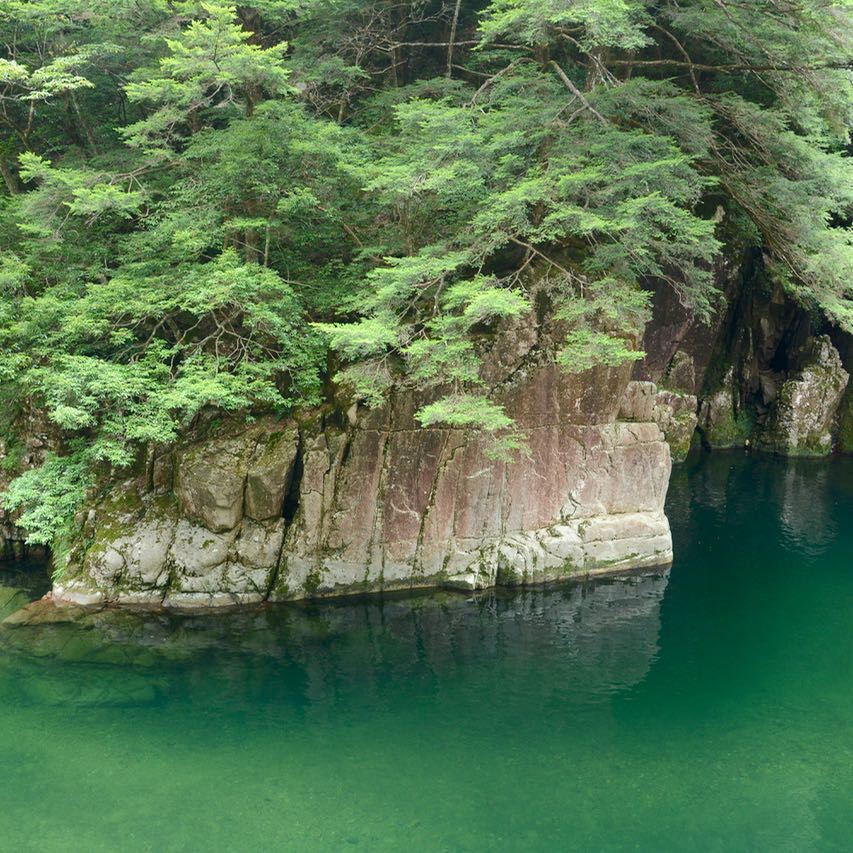 Sandankyo gorge Hiroshima Japan emerald green water