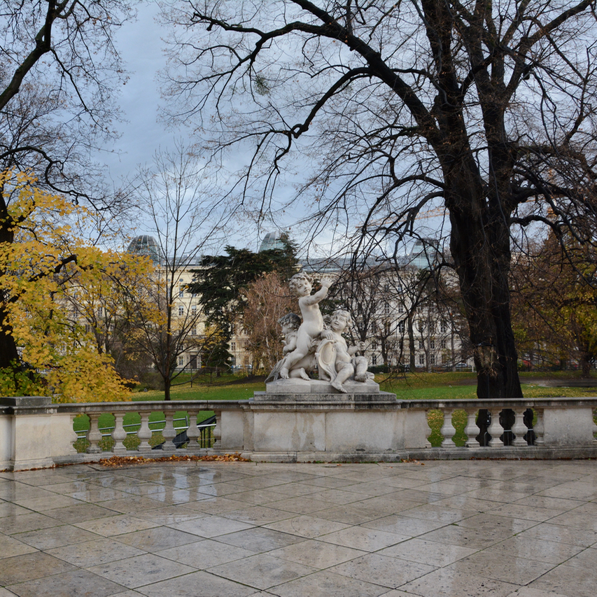 Vienna Wien Austria with children kids burggarten sculptures