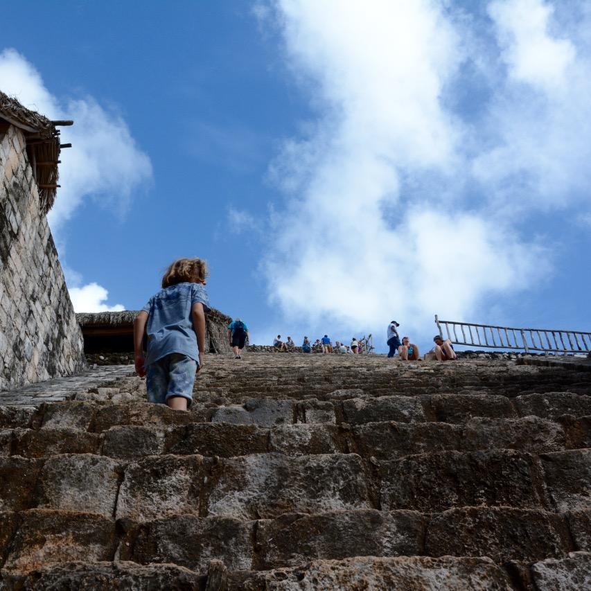 Valladolid with kids children ek balam acropolis steps up