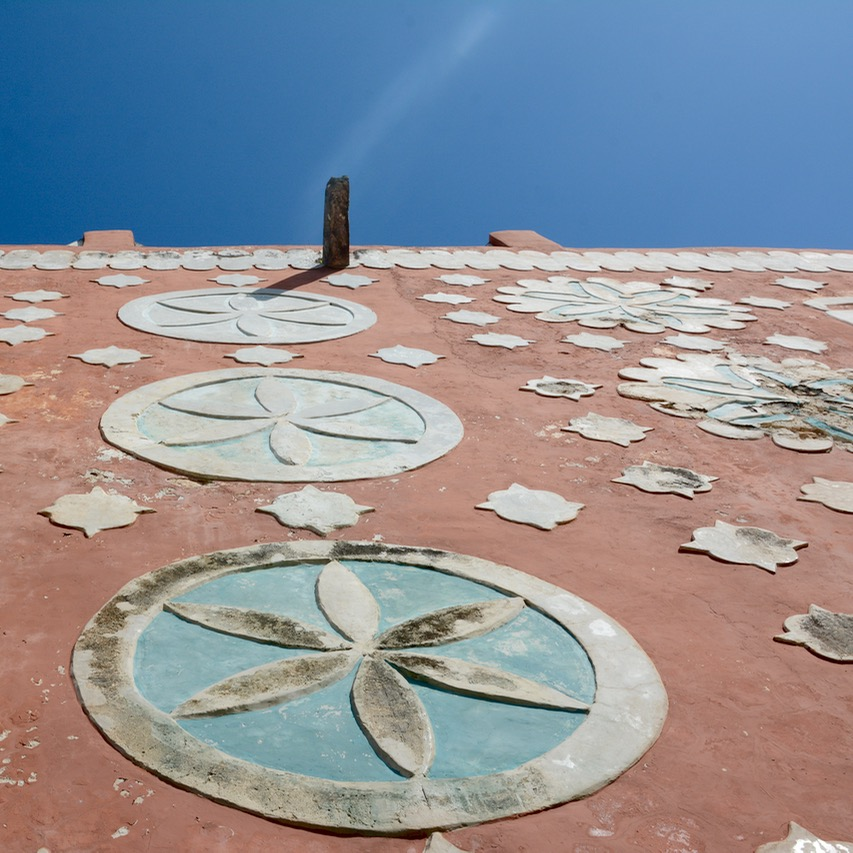 travel with children kids mexico uayma church convent looking up