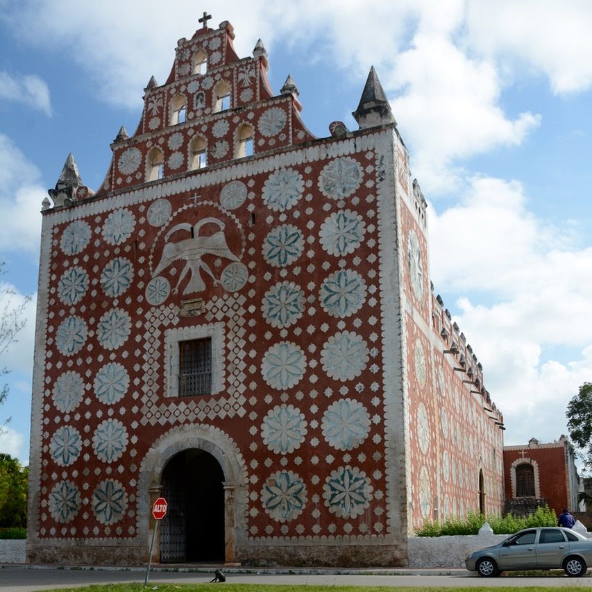 travel with children kids mexico uayma church convent front view