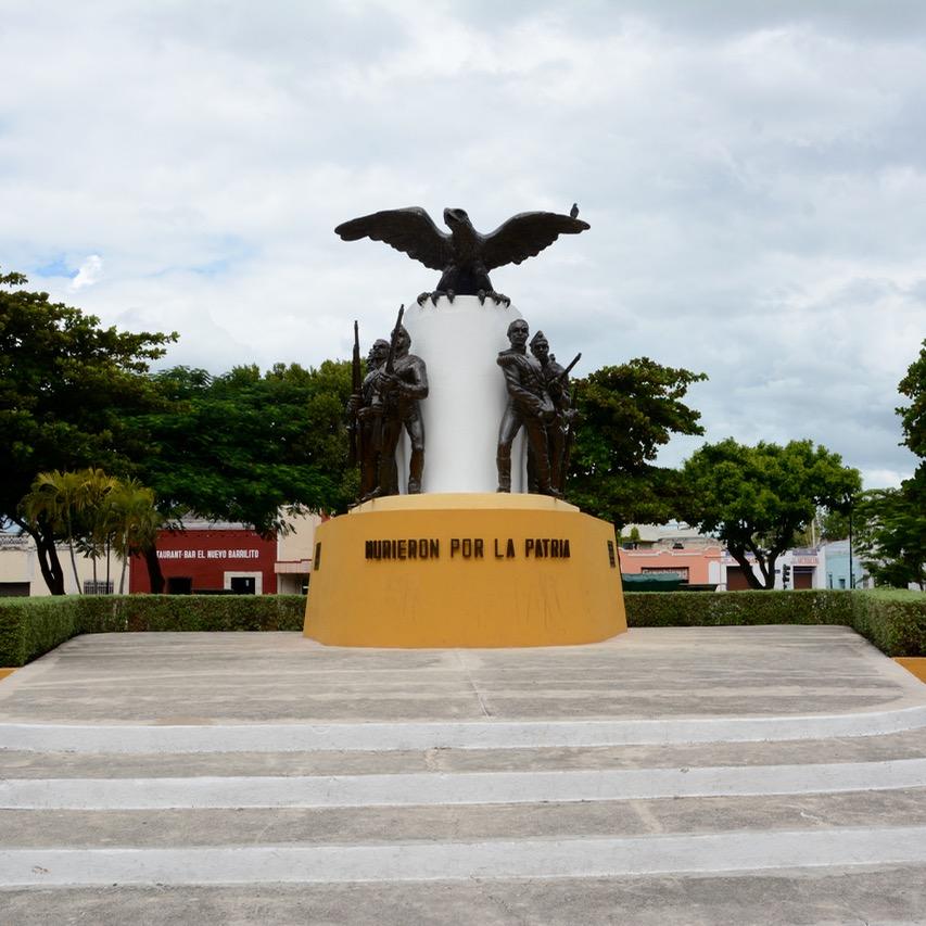 Mexico Merida travel with children kids heroic statue