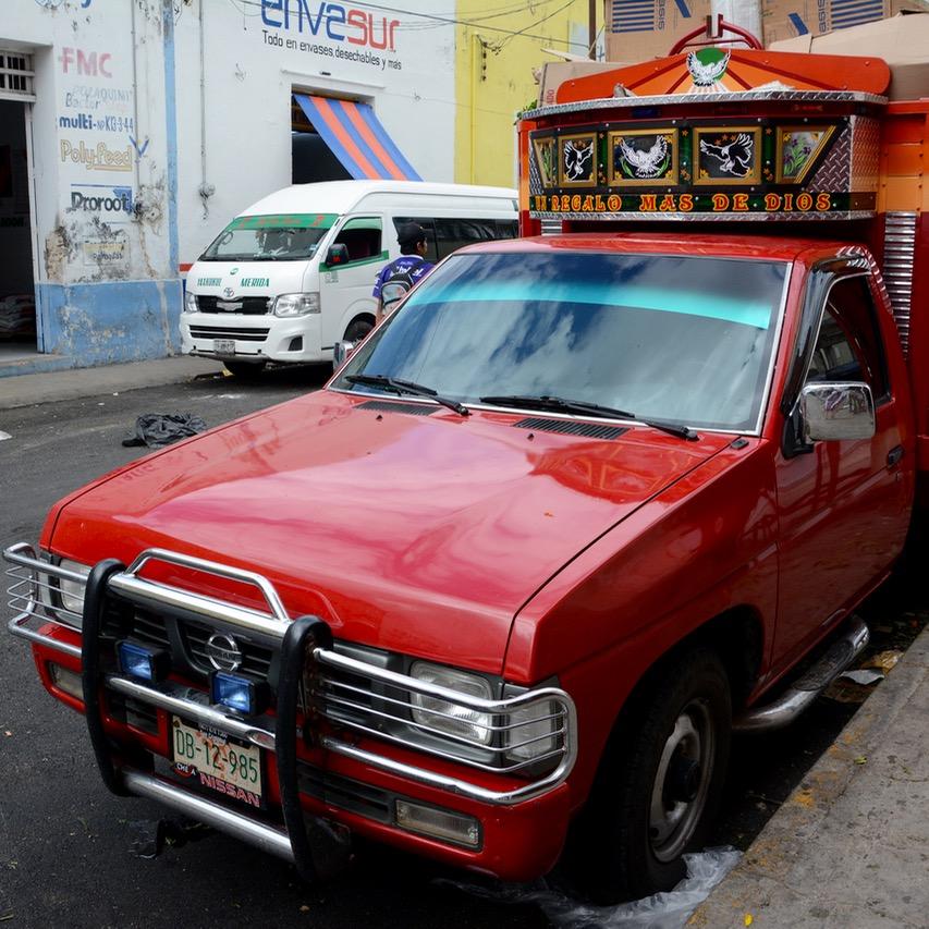 Mexico Merida travel with children kids pickup truck