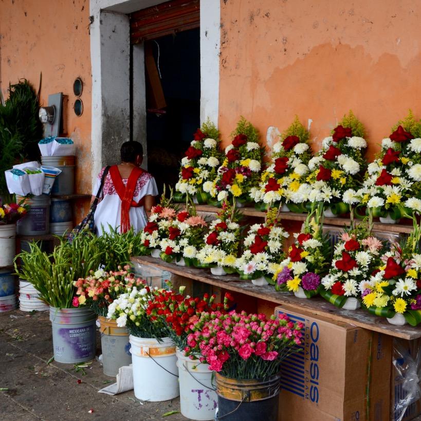 Mexico Merida travel with children kids flower shop