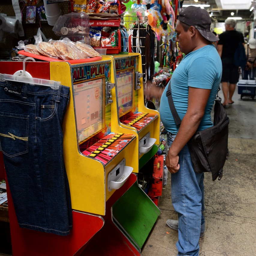 Mexico Merida travel with children kids slot machine