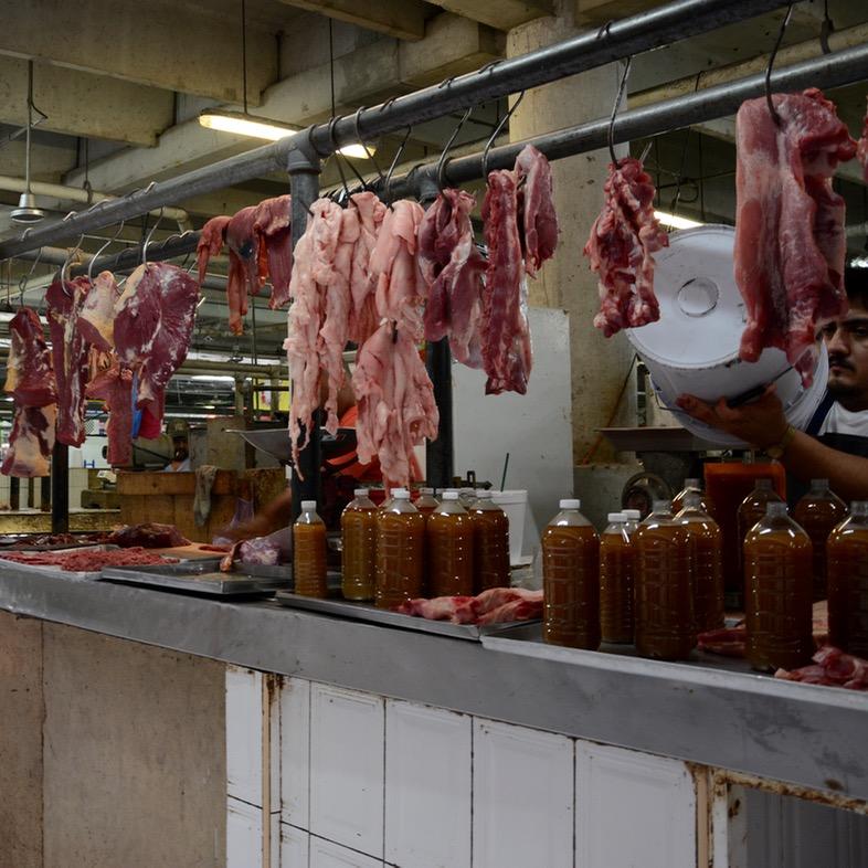 Mexico Merida travel with children kids meat market