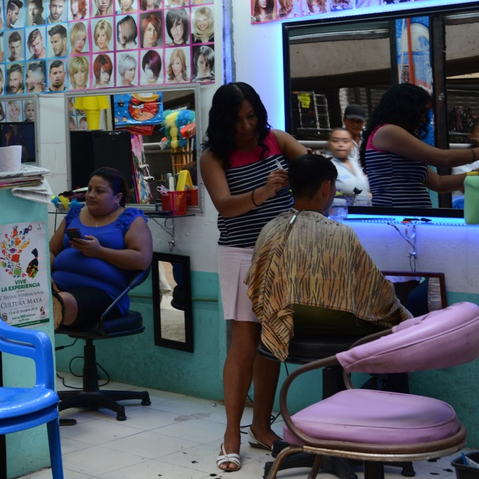 Mexico Merida travel with children kids hair salon