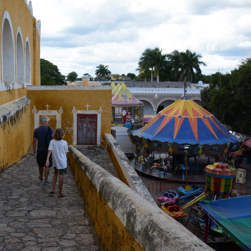Travel with children kids mexico merida izamal convento de san antonio de padua festival