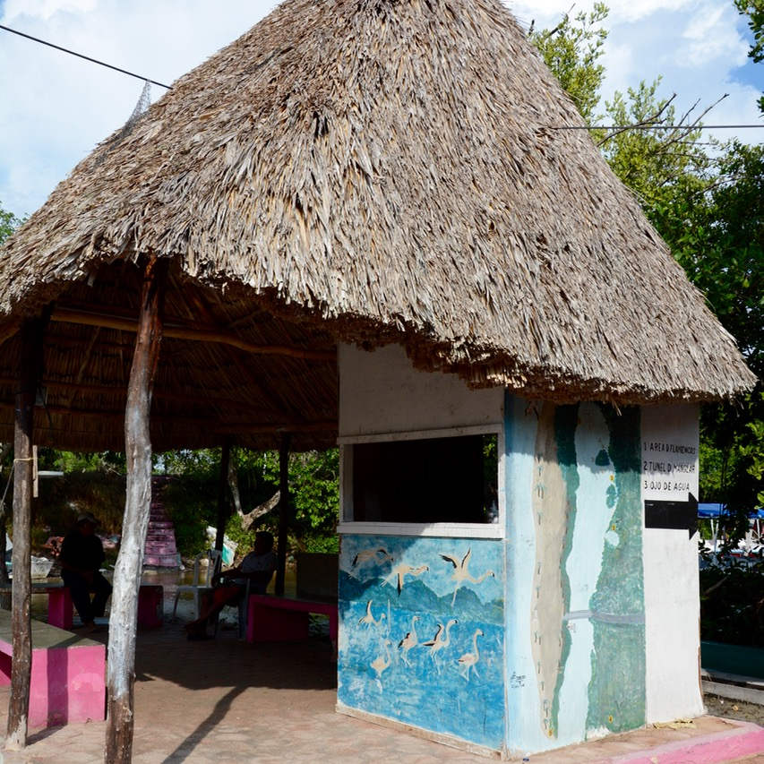 Travel with children kids mexico celestun entrance hut boat ride