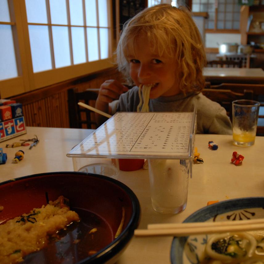 travel with children kids japan tokyo food udon nodles