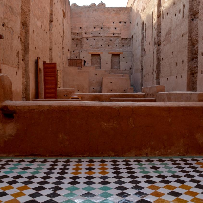 Travel with children kids Marrakesh morocco medina badia palace tiles