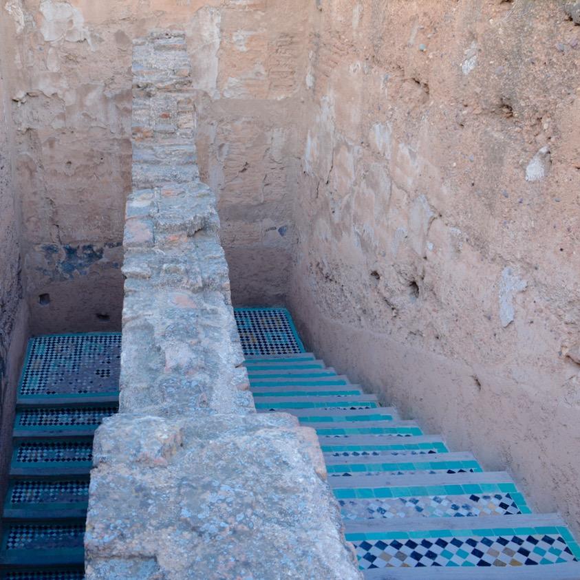 Travel with children kids Marrakesh morocco medina badia palace stairs