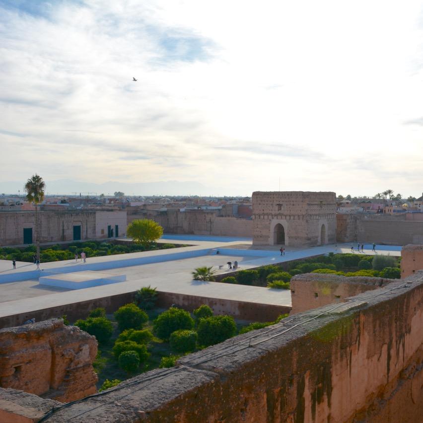 Travel with children kids Marrakesh morocco medina badia palace view