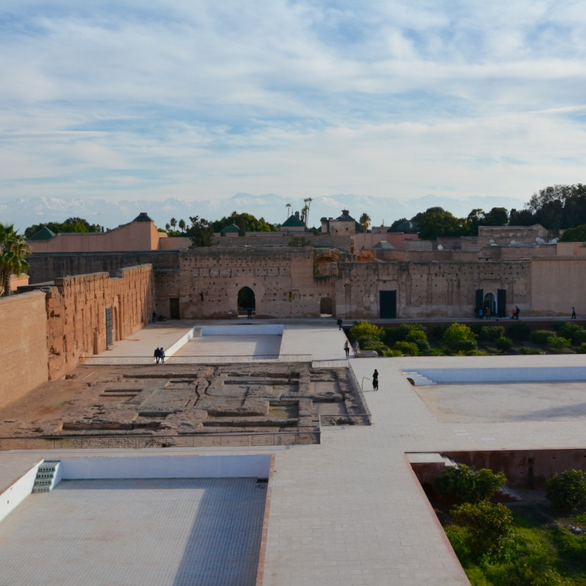 Travel with children kids Marrakesh morocco medina badia palace grounds