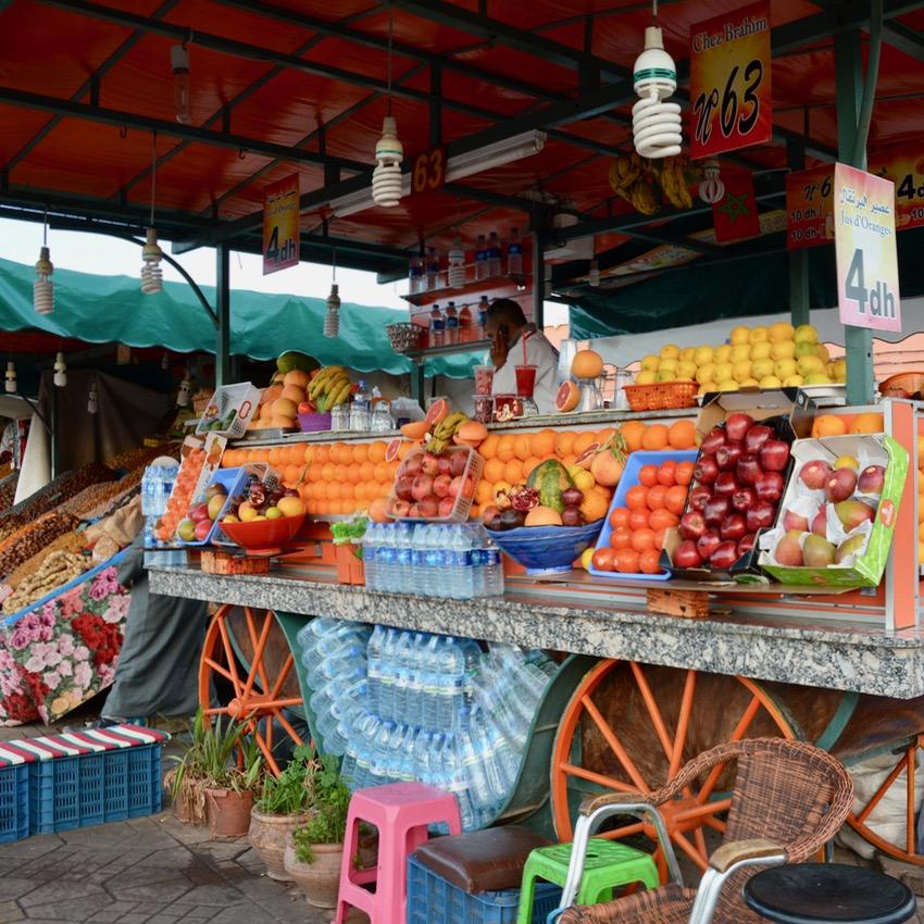 Travel with children kids Marrakesh morocco medina juice stand