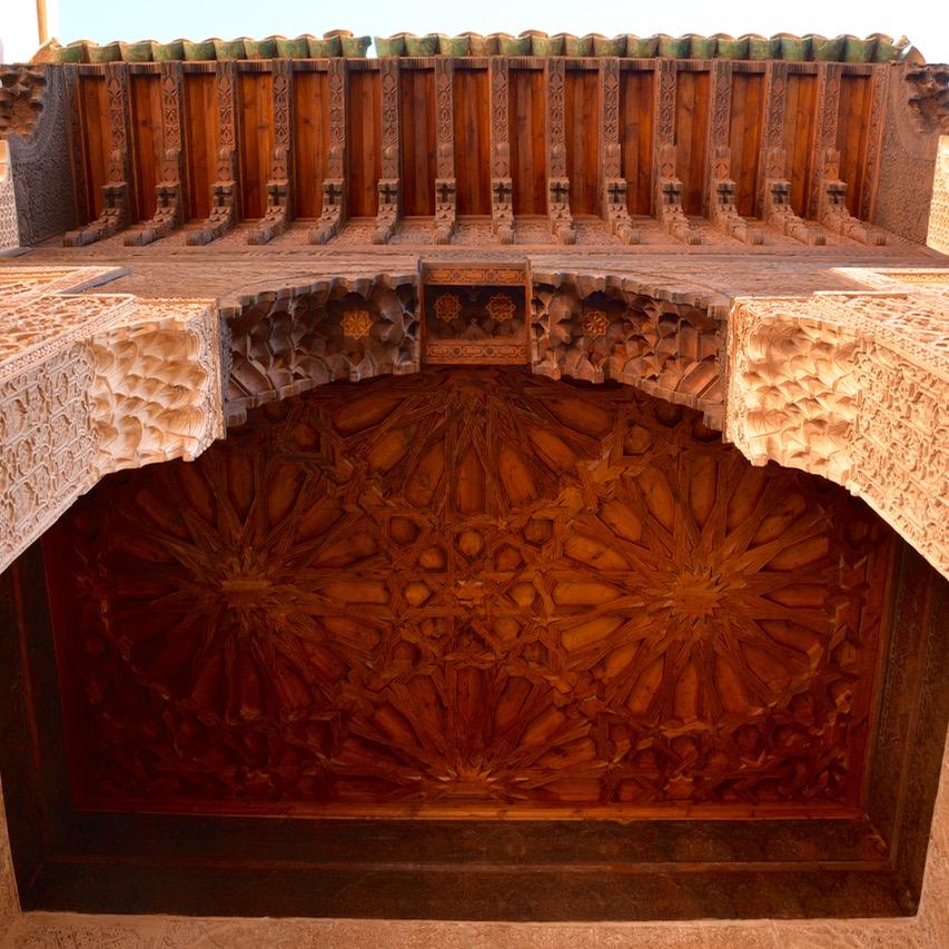 travel with children kids morocco marrakech saadian tombs wooden ceiling