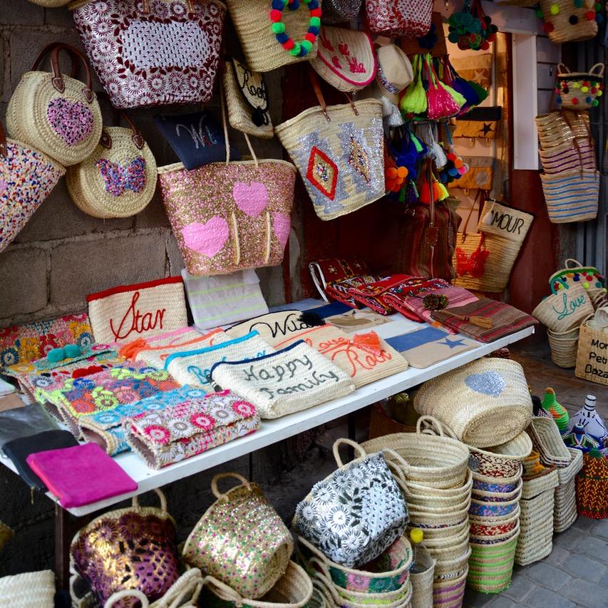 travel with children kids morocco marrakech souk baskets