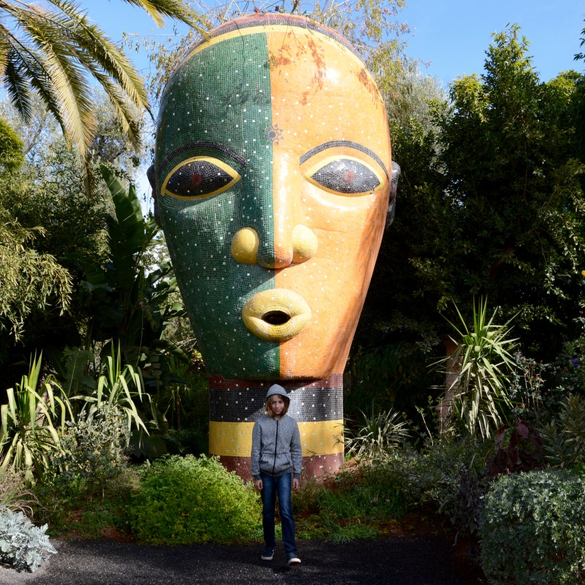 travel with children kids marrakech morocco anima garden andre heller mosaic head