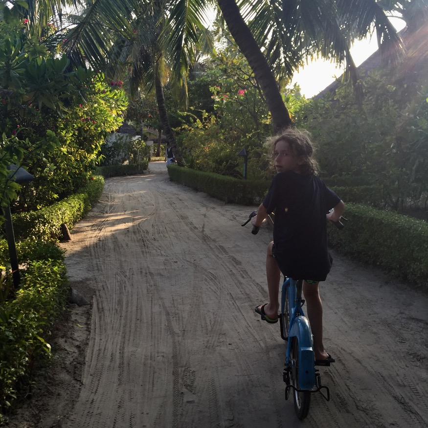 travel with children kids maldives lux south ari atoll cycling