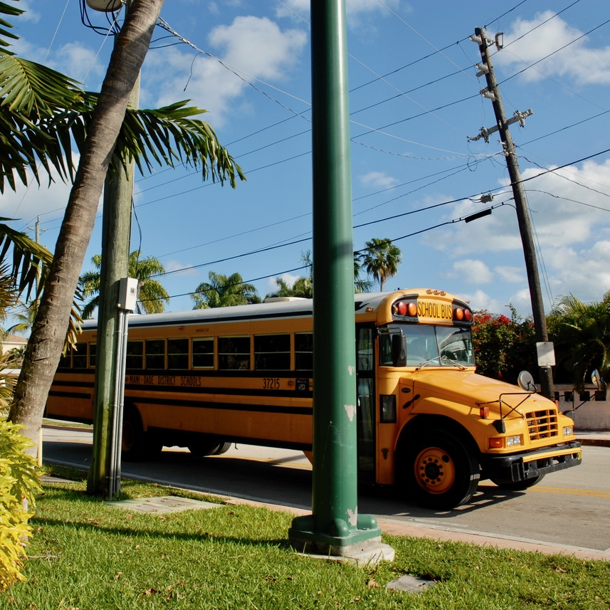 travel with kids children miami usa virginia key beach school bus
