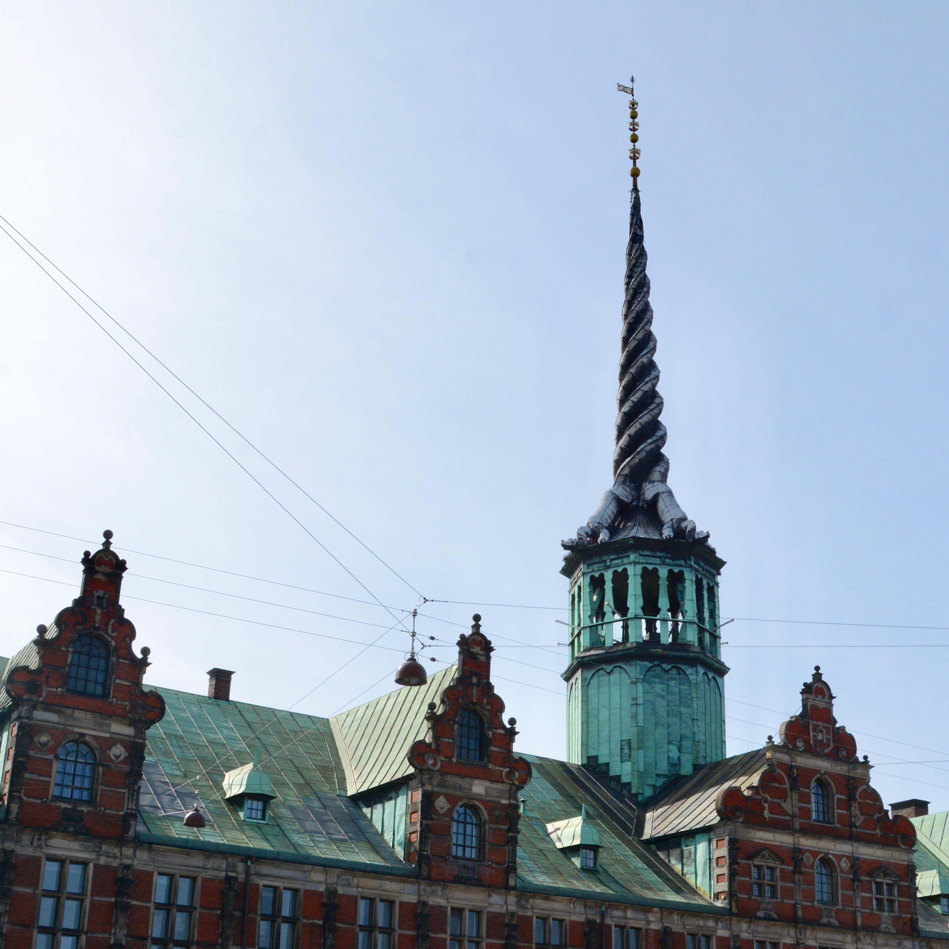 travel with kids children Copenhagen Denmark stock exchange dragon spire