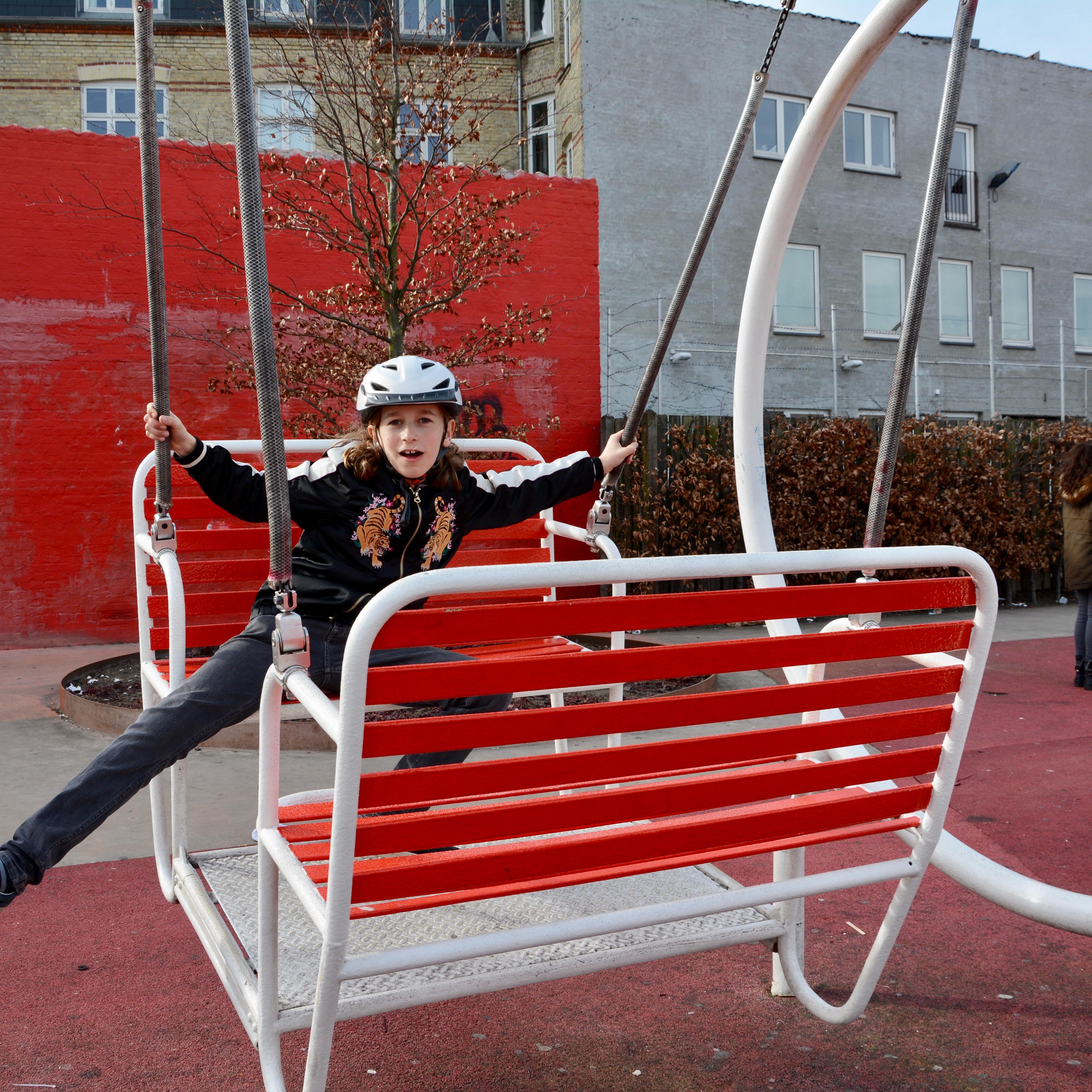 travel with kids children Copenhagen Denmark norrebro superkilen park swing