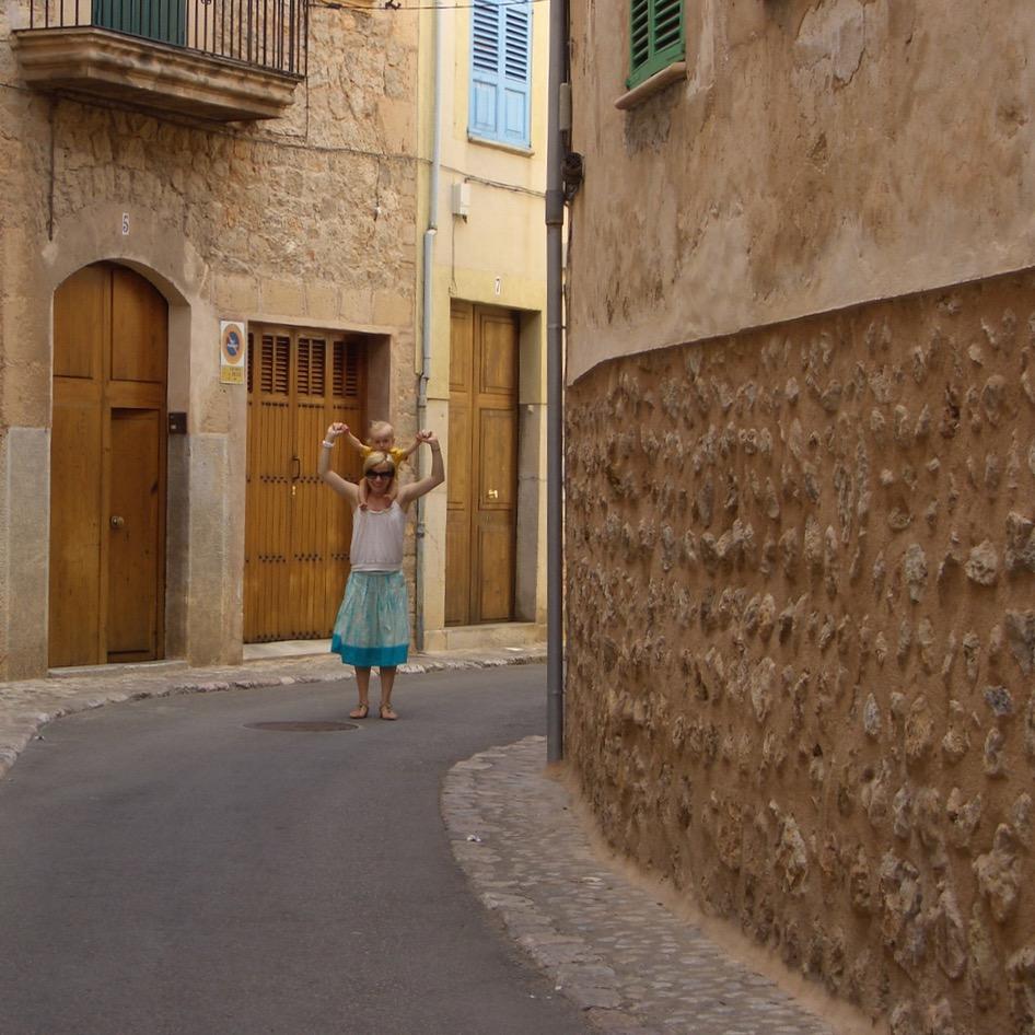 travel with kids children Soller Mallorca Spain alleys