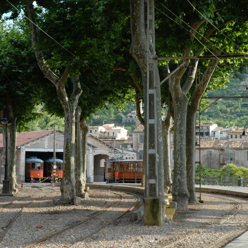 travel with kids children Soller Mallorca Spain tranvia tram shed